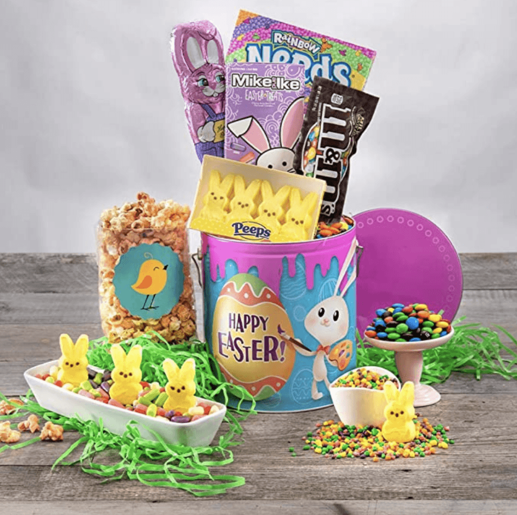 pre-made Easter Basket tin with candy