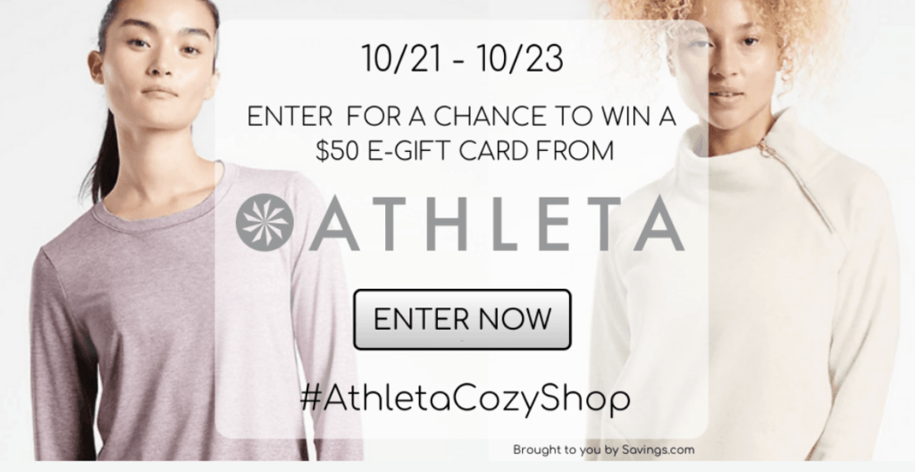 Athleta gift card giveaway with two women -one wearing purple shirt and one wearing white sweatshirt