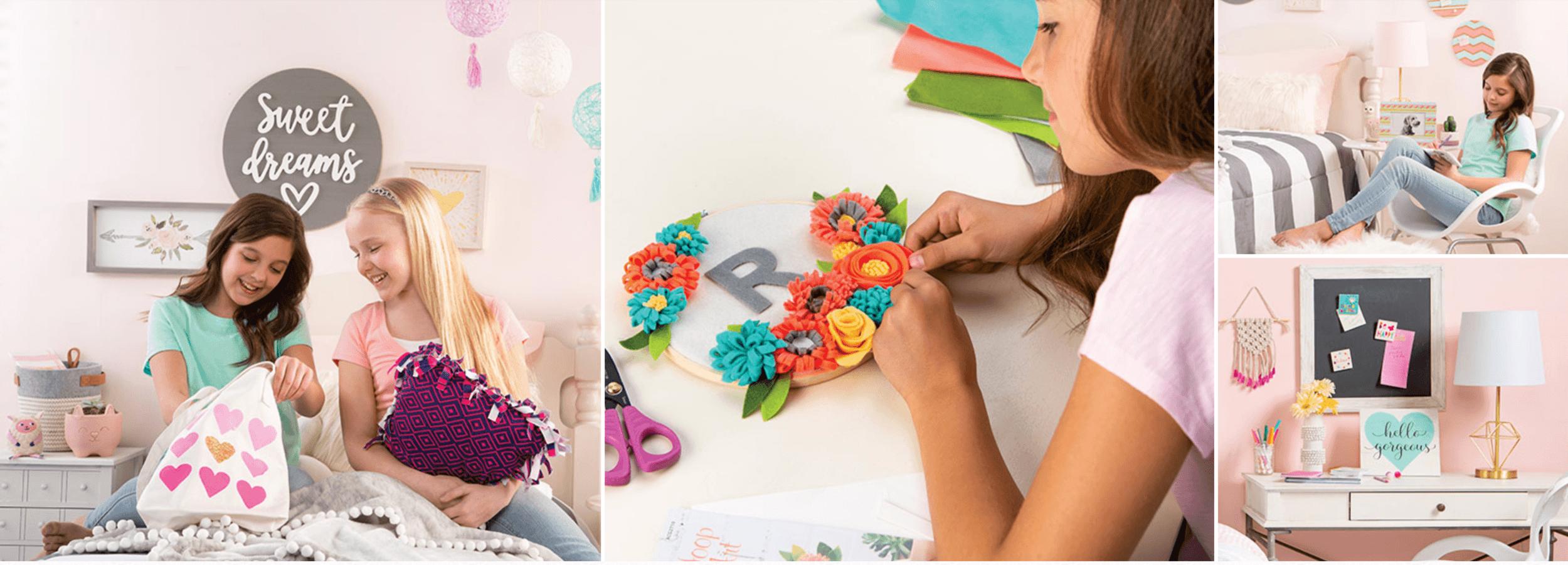 girls making crafts