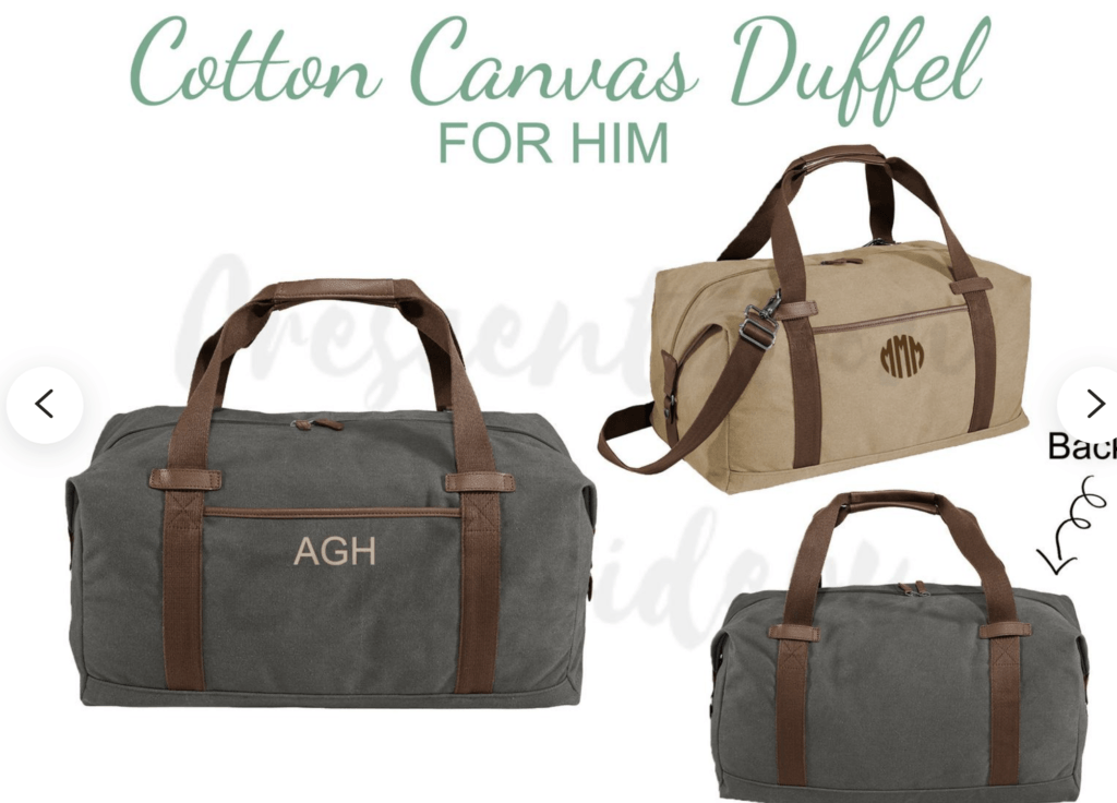 personalized cotton canvas duffel bag for him