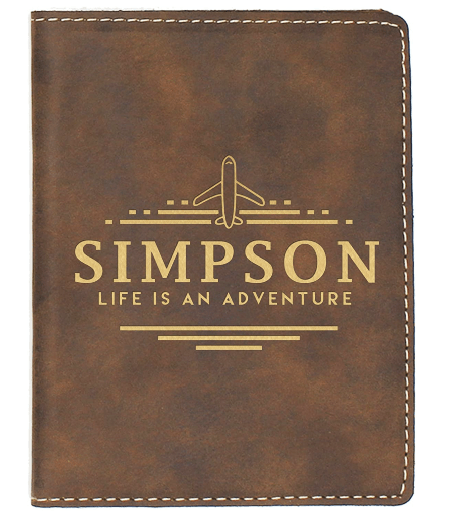 personalized passport cover with airplane and life is an adventure