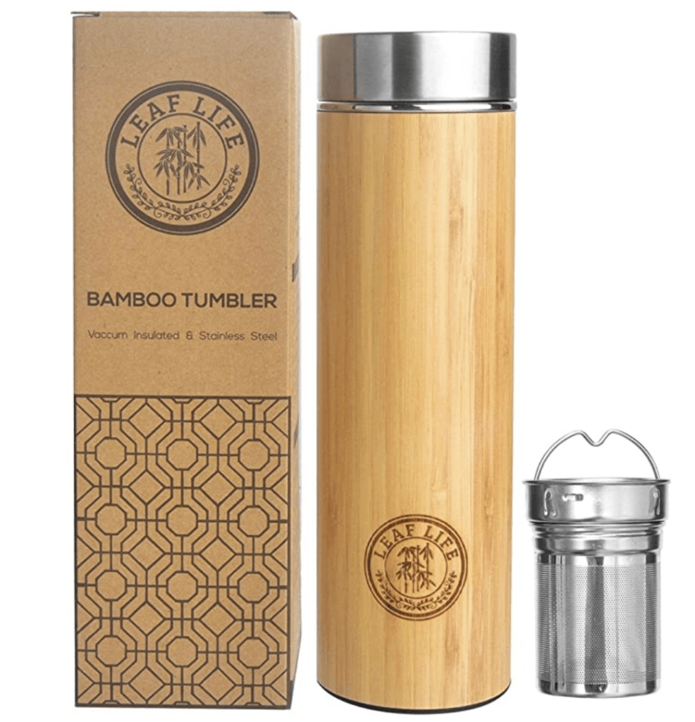 bamboo tumbler and tea infuser