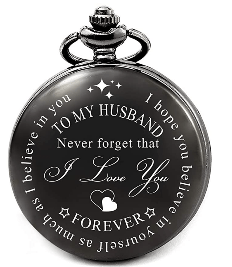 engraved pocket watch - to my husband never forget that I love you