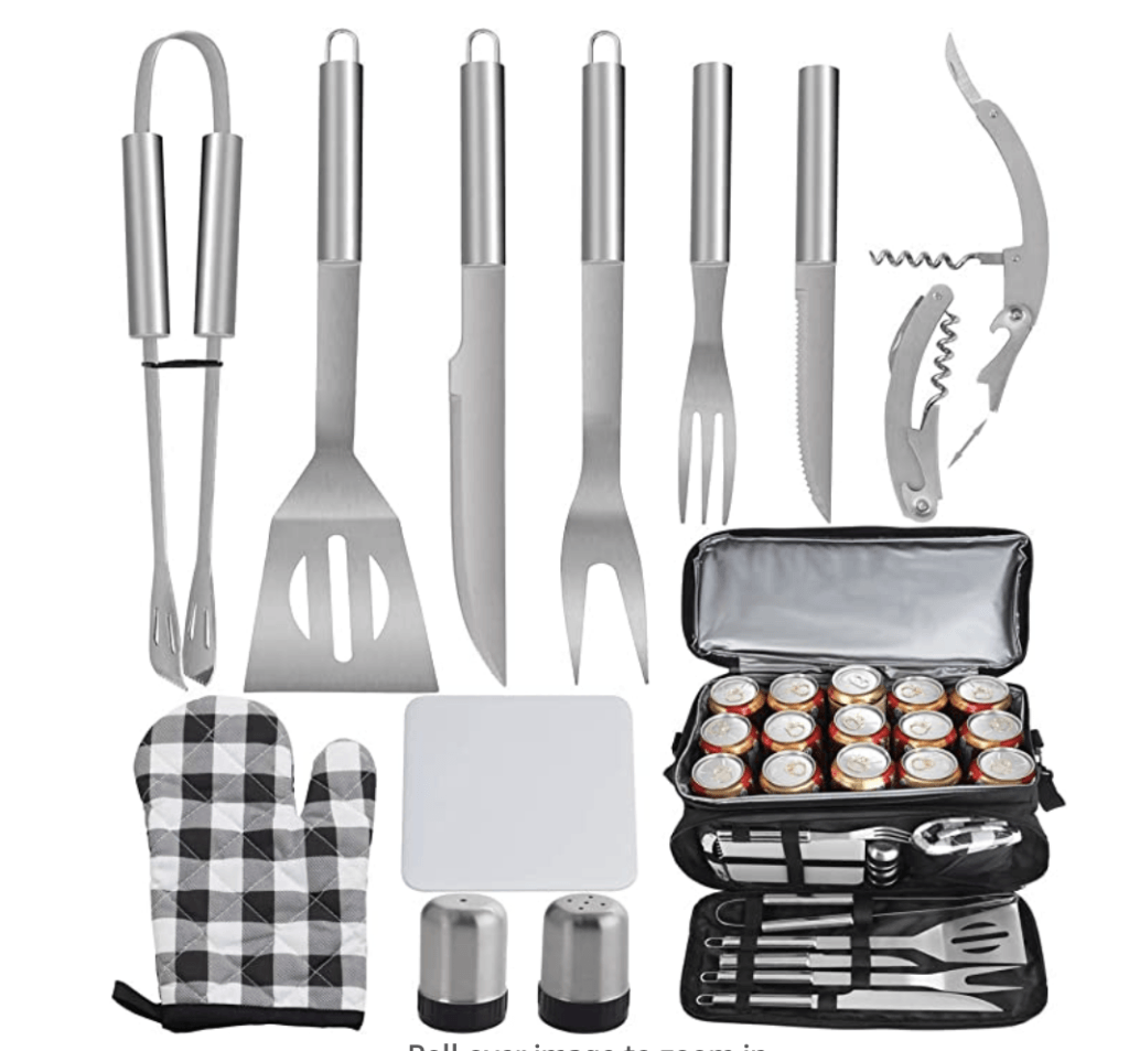 bbq grilling gift set - grilling tools and bag for storage and gifting