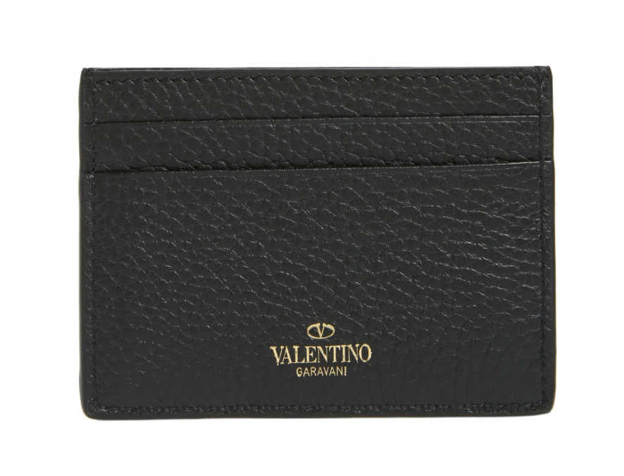 Valentino Rockstud Calfskin Leather Card Holder