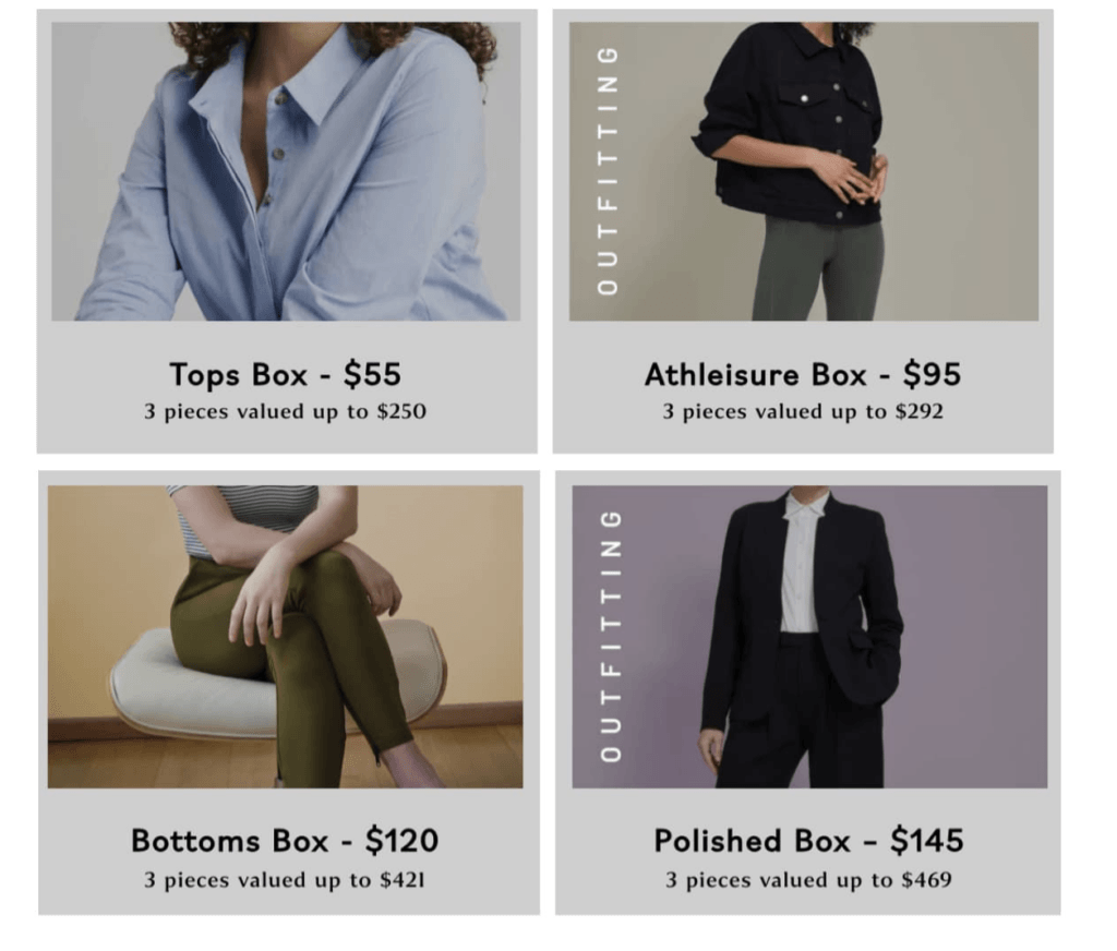 4 Universal Standard Mystery Boxes - Tops Box, Athleisure Box, Bottoms Box, Polished Box