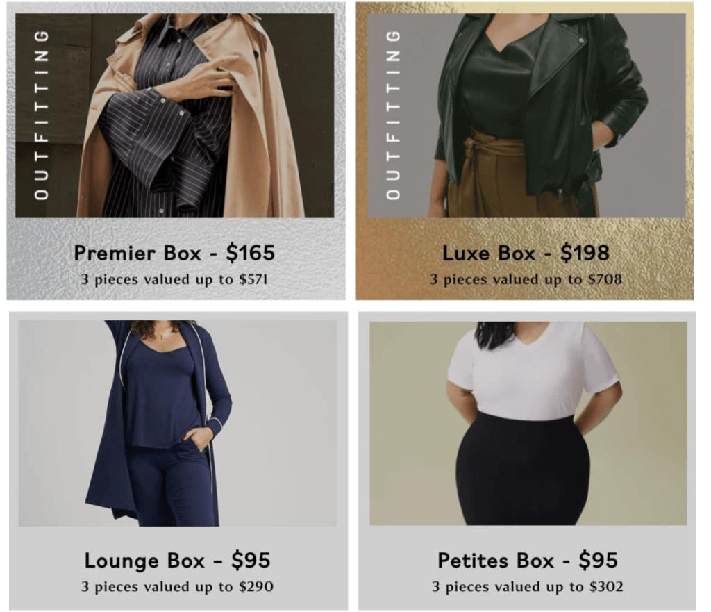 4 Universal Standard Mystery Box offers - Premier Box, Luxe Box, Lounge Box, Petites Box