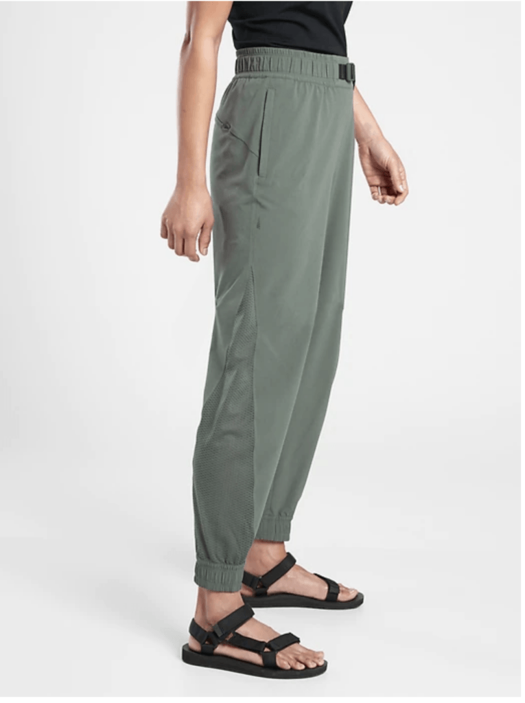 Athleta joggers in Olive Green with belt