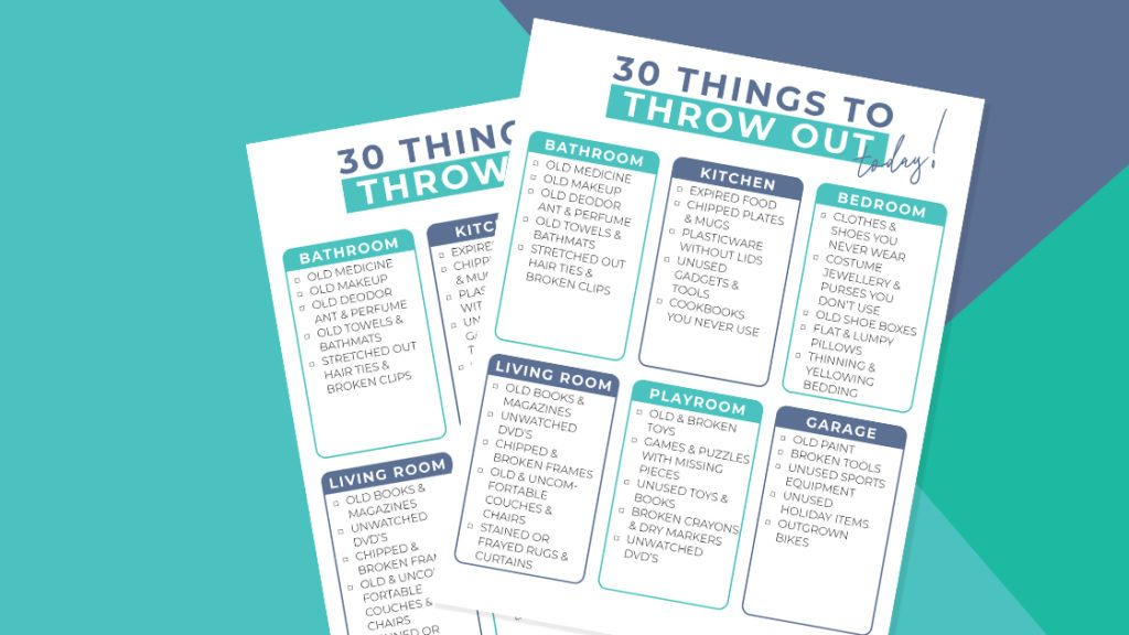 Things to Throw Away Printable sheet