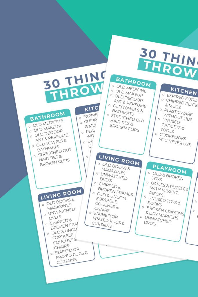 Things to Throw Out printable checklist