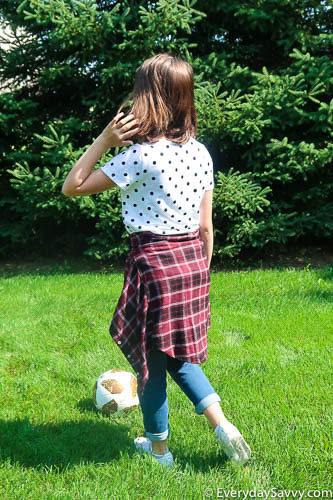 middle school outfit with pattern mixing