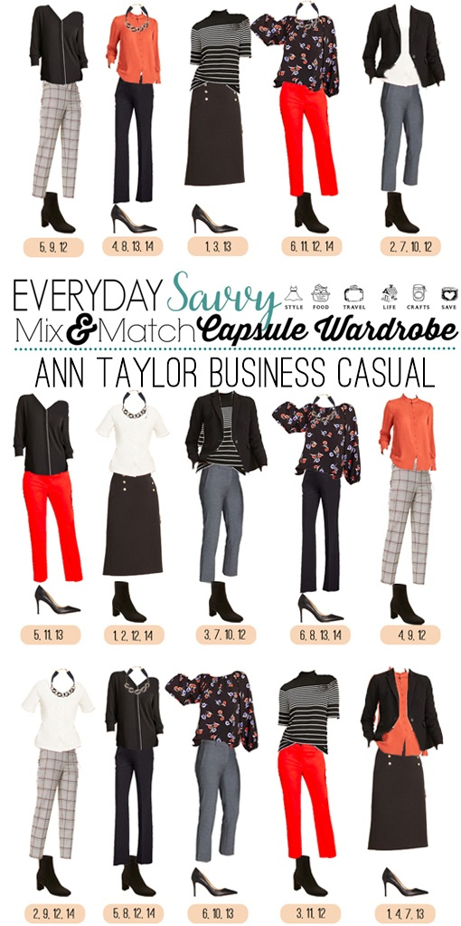 business casual outfits - black, red, stripes and floral