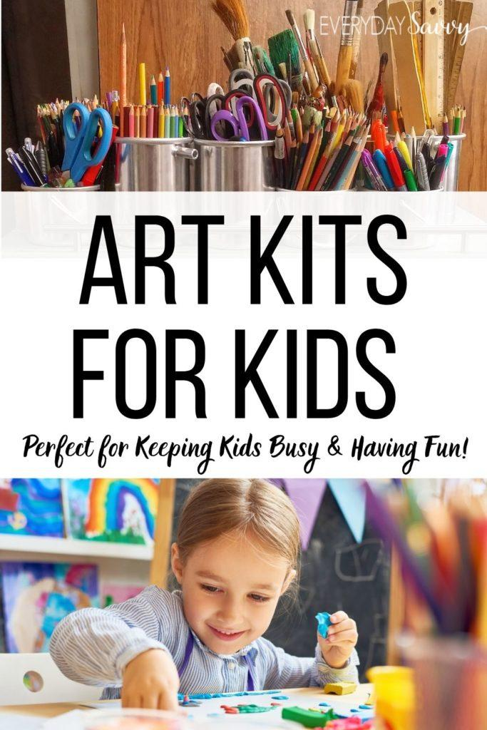 girl using clay and colored pencils in cans - art kits for kids