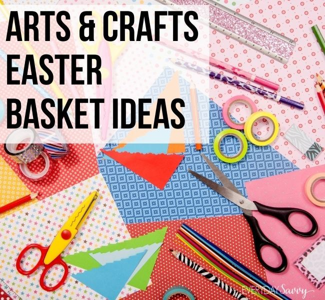 Arts & Crafts Easter Basket ideas - craft paper, scissors, washi tape, pencils