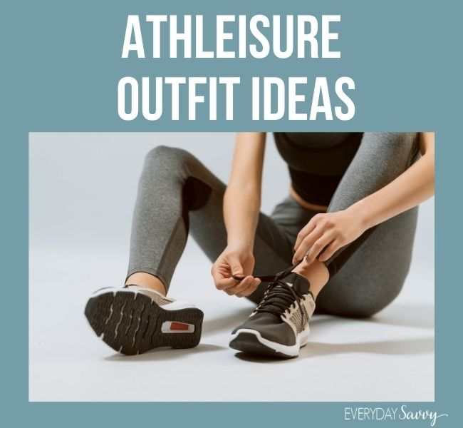 Athleisure outfit ideas - woman tying tennis shoes