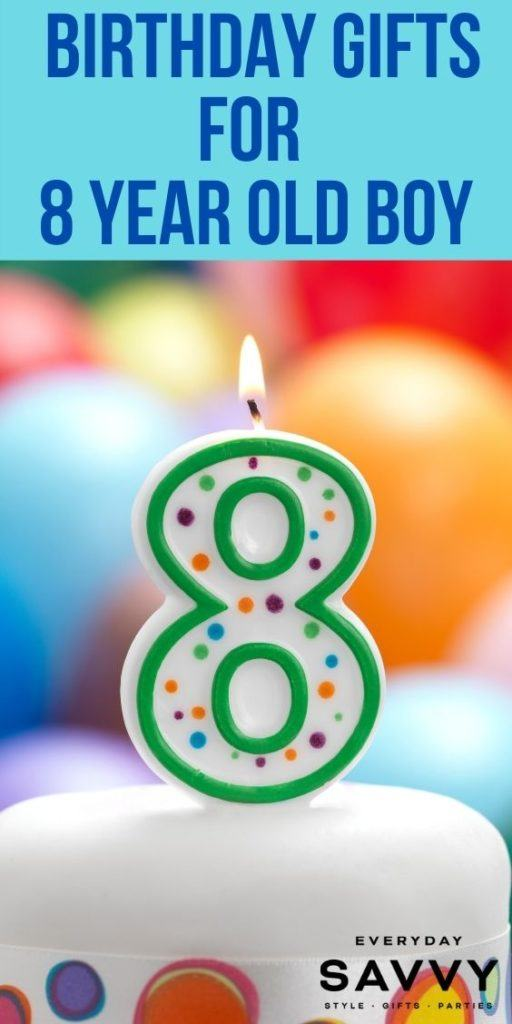 Birthday Gifts for 8 Year Old Boy - 8 candle on a birthday cake with balloons