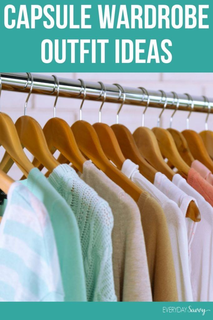 capsule wardrobe outfit ideas - clothes on hangers