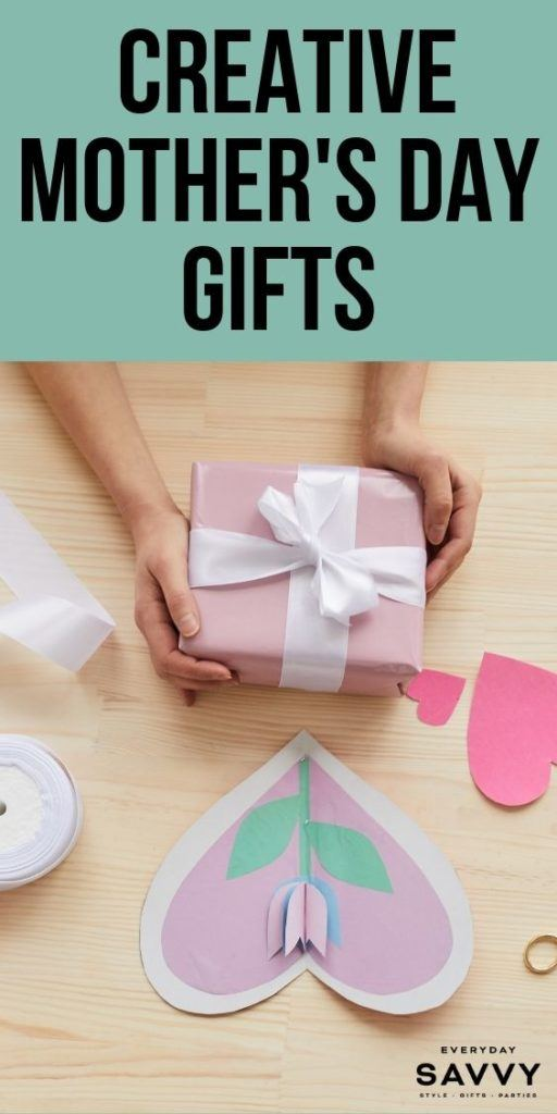 Creative Mothers Day Gifts - gift  and paper heart with flower