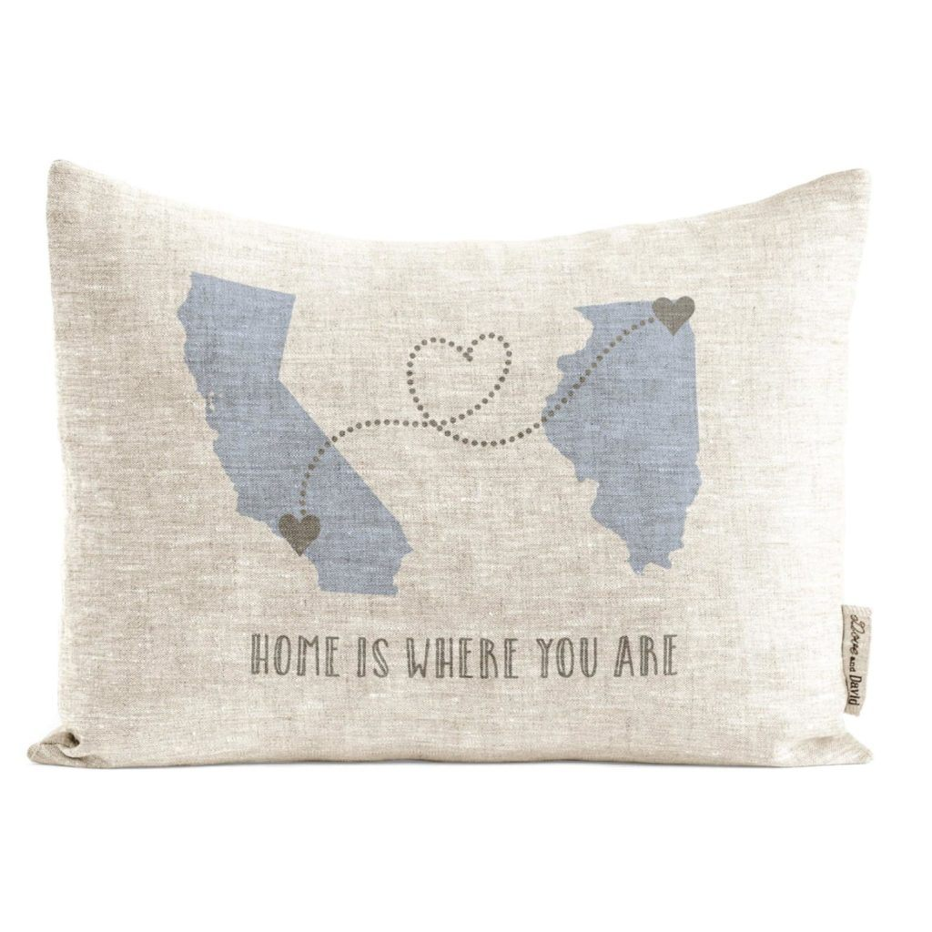 Home is where you are decorative throw pillow personalized with states