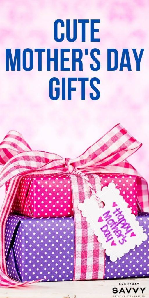 Cute Mothers Day Gifts - wrapped presents with tag that says Happy Mother's Day