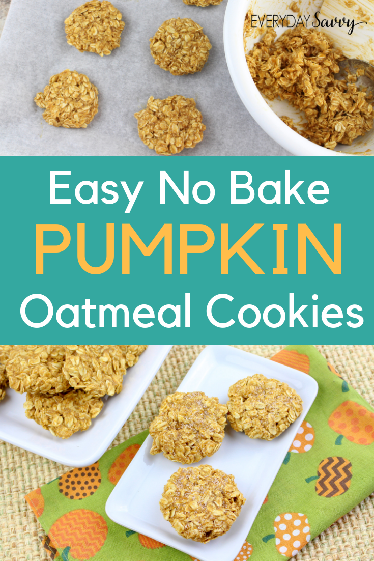 no bake pumpkin cookies with oatmeal and pumpkin spice