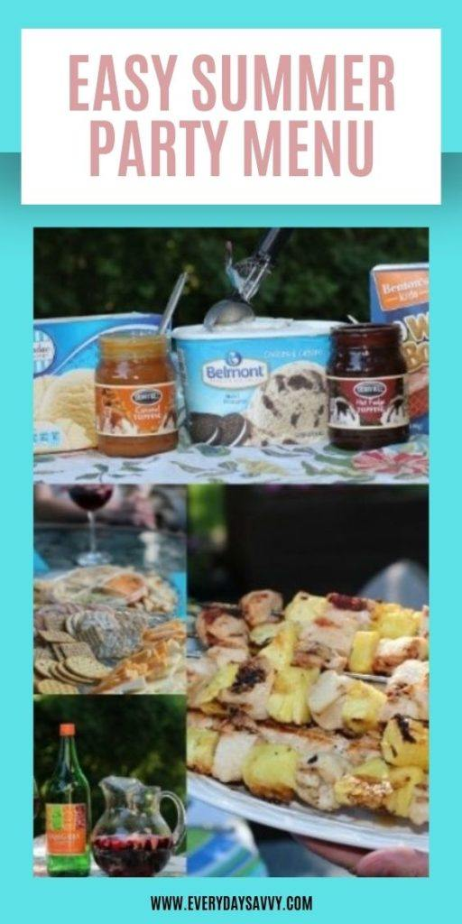 Easy Summer Party Plan & Menu - sundae bar, sangria, chicken kebobs