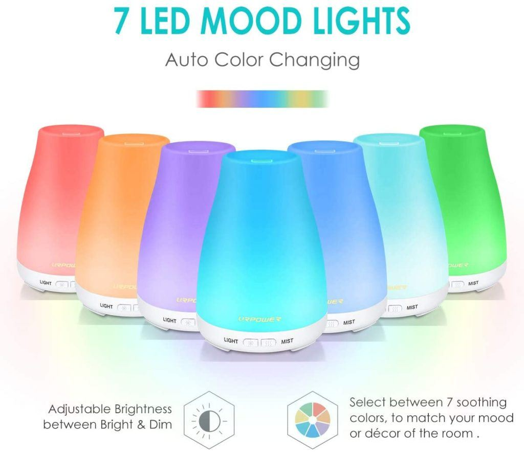 Essential Oils Diffusers - 7 LED Mood Lights  -Select between 7 soothing colors to match your mood or decor of the room