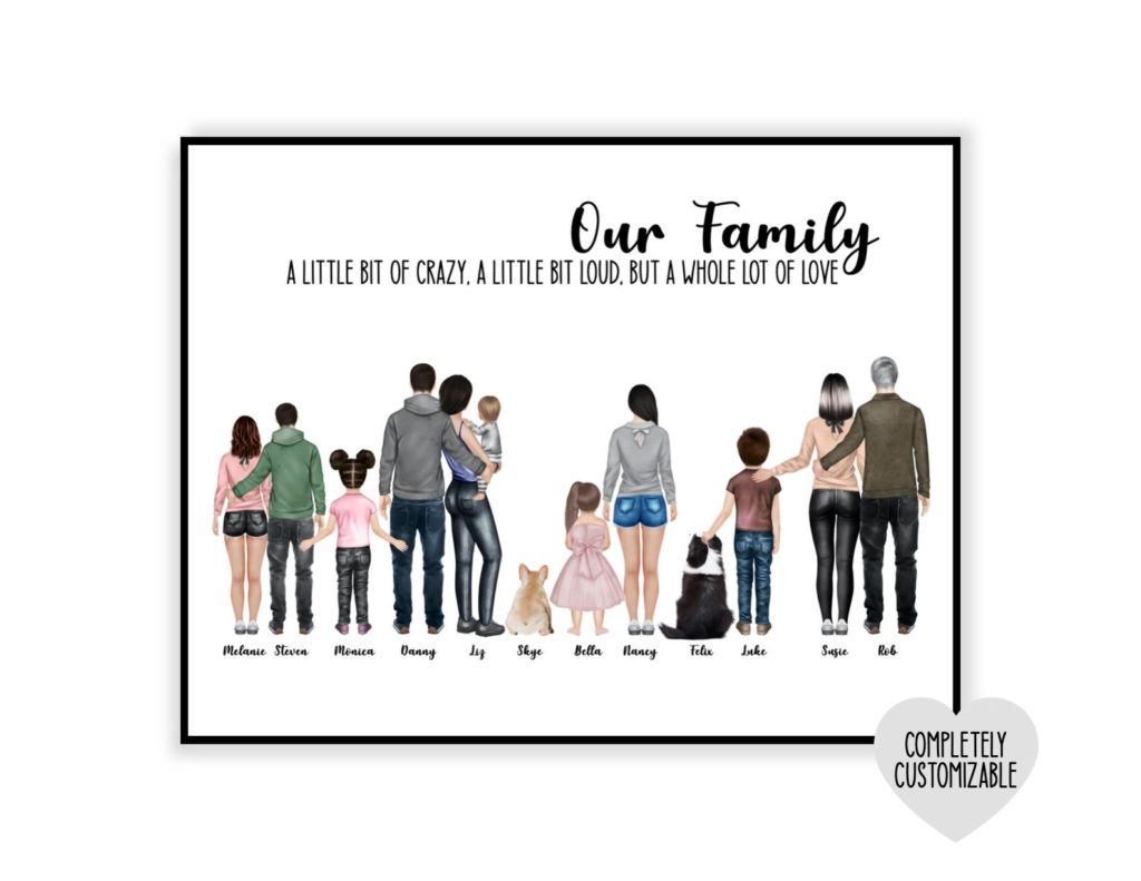 Personalized family Portrait Illustration