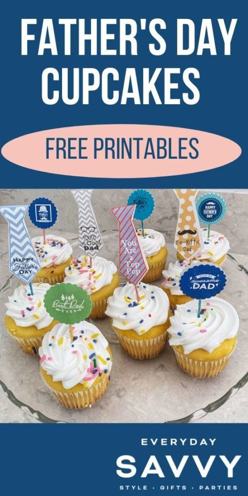 Father's Day Cupcakes with Printable Cupcake Toppers
