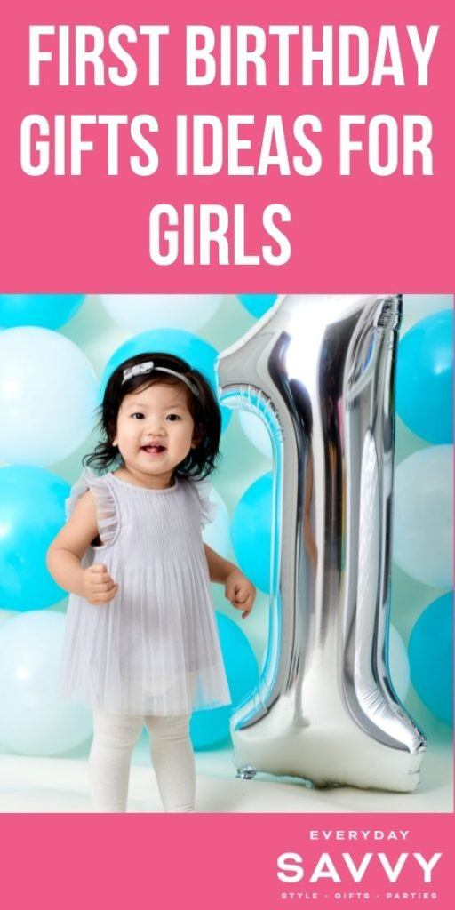 First Birthday Gift Ideas for Girls - girl with number 1 balloon