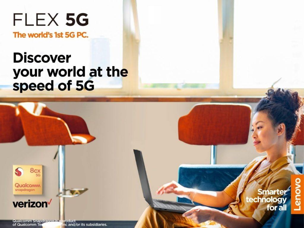 women working on Lenovo Flex 5G sitting on couch