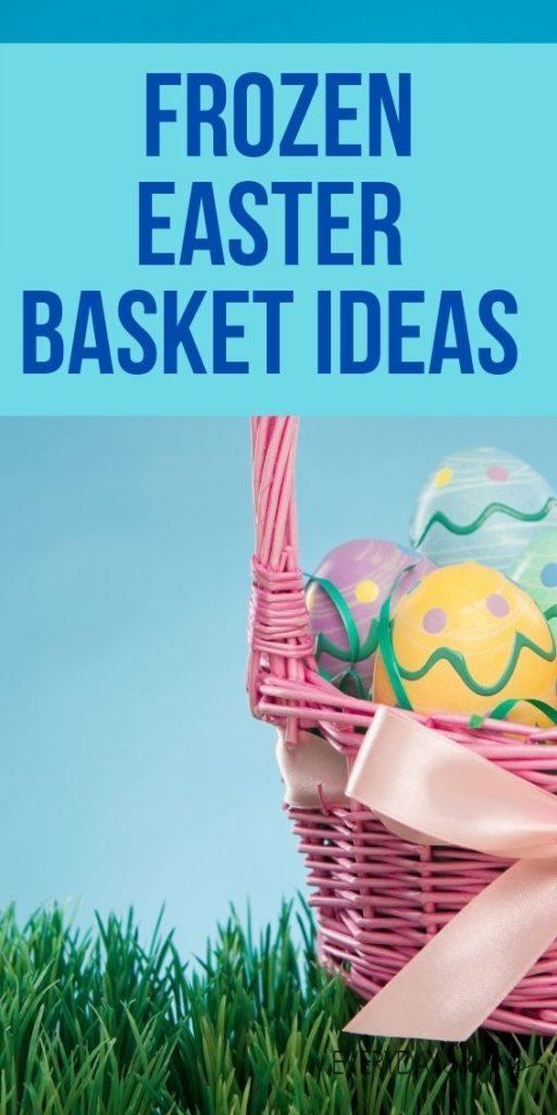 Frozen Easter Basket Ideas - pink Easter basket with Easter eggs