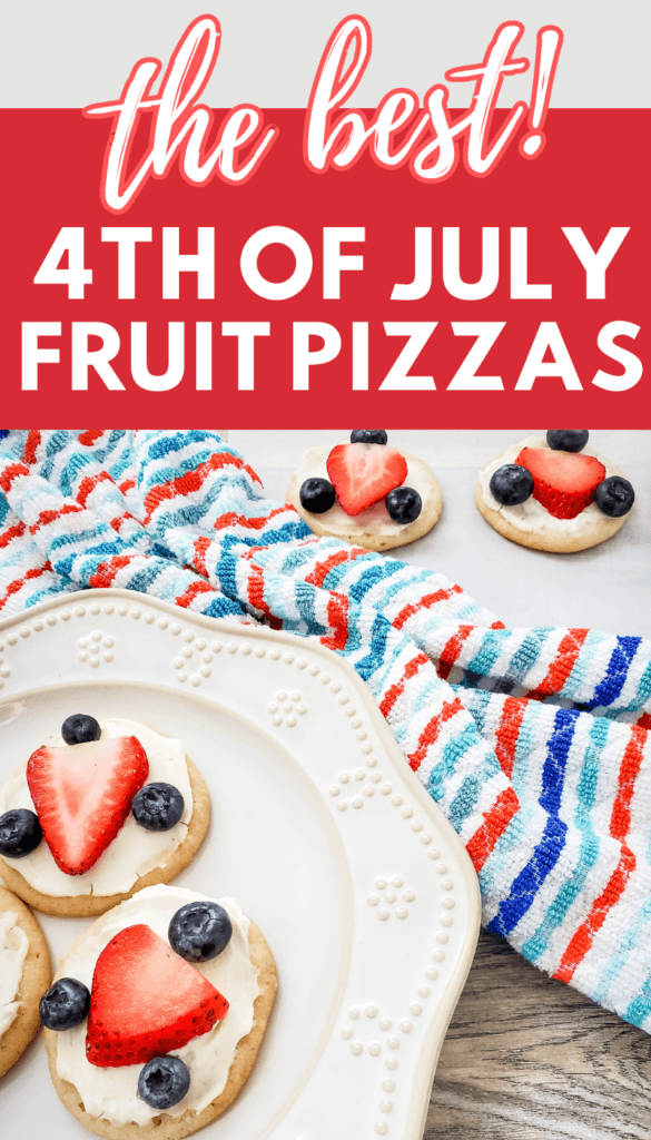 4th of July Treats - red white and blue fruit pizzas made sugar cookies, strawberries and blueberries