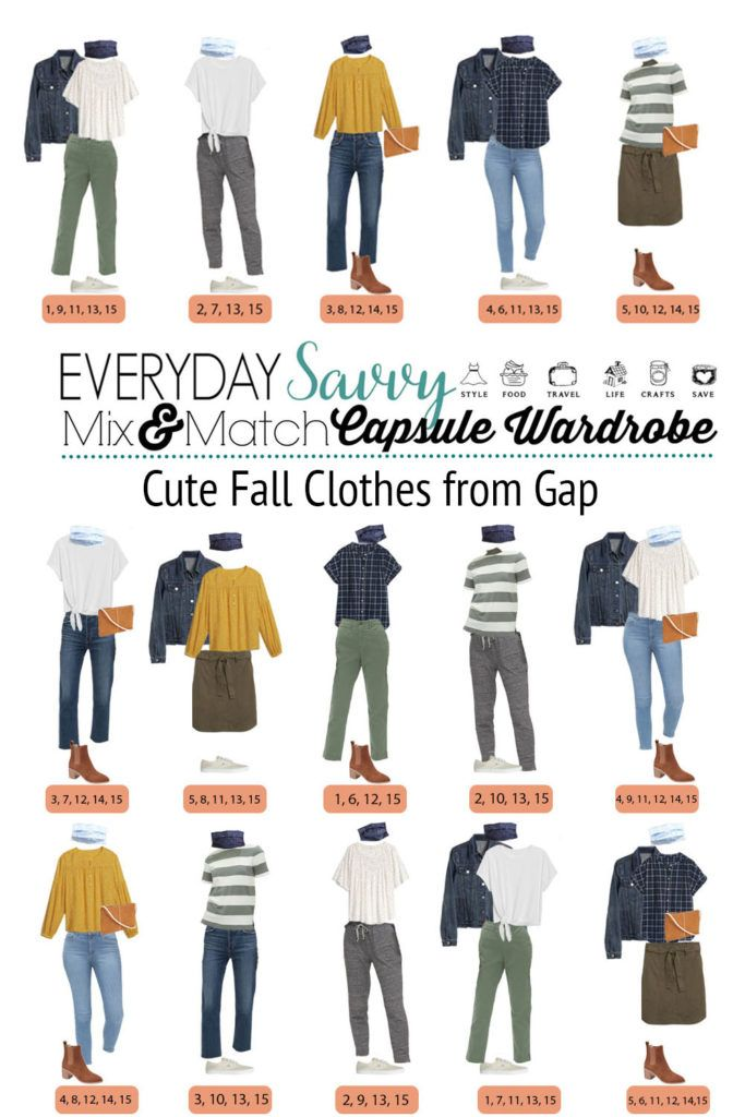 cute fall clothes from  Gap - mix and match outfits with  joggers, jeans, pants and skirt.