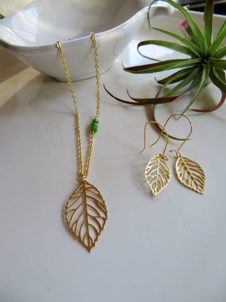 handmade gold leaf necklace and earrings set