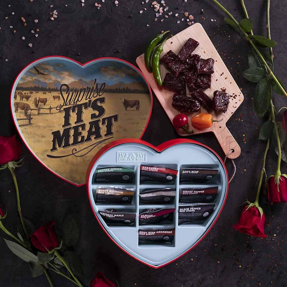 Beef jerky heart gift box - Surprise It's meat on heart and beef jerky on cutting board