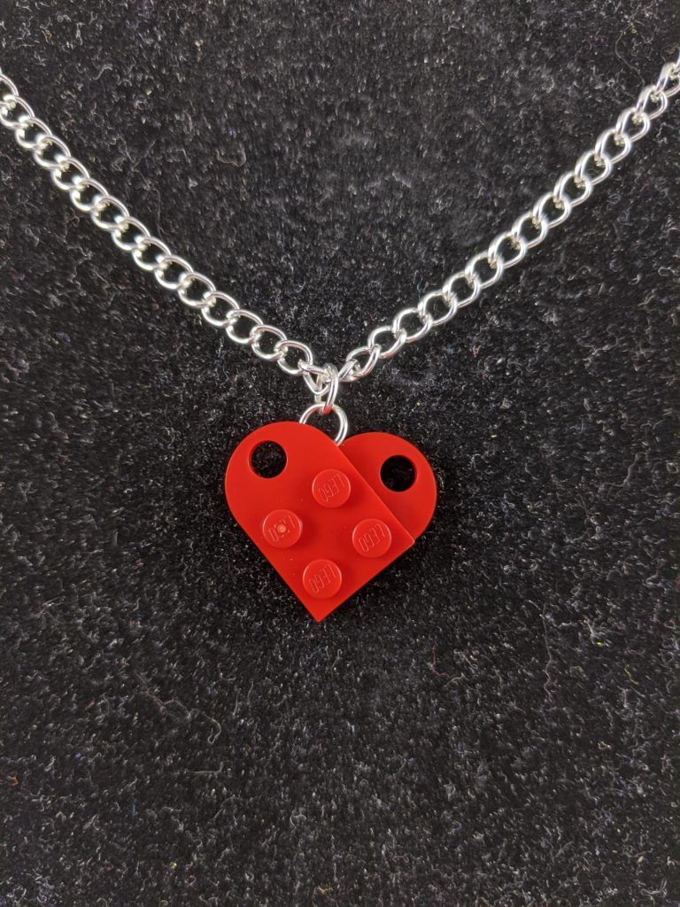Lego Heart Necklace on chain