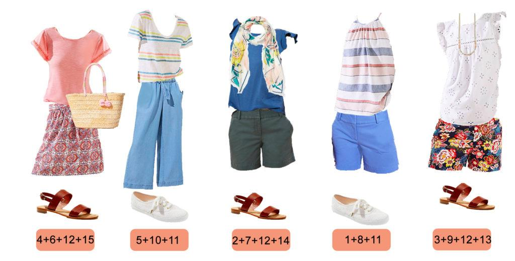 blue shorts, striped tee, floral shorts, keds and sandals