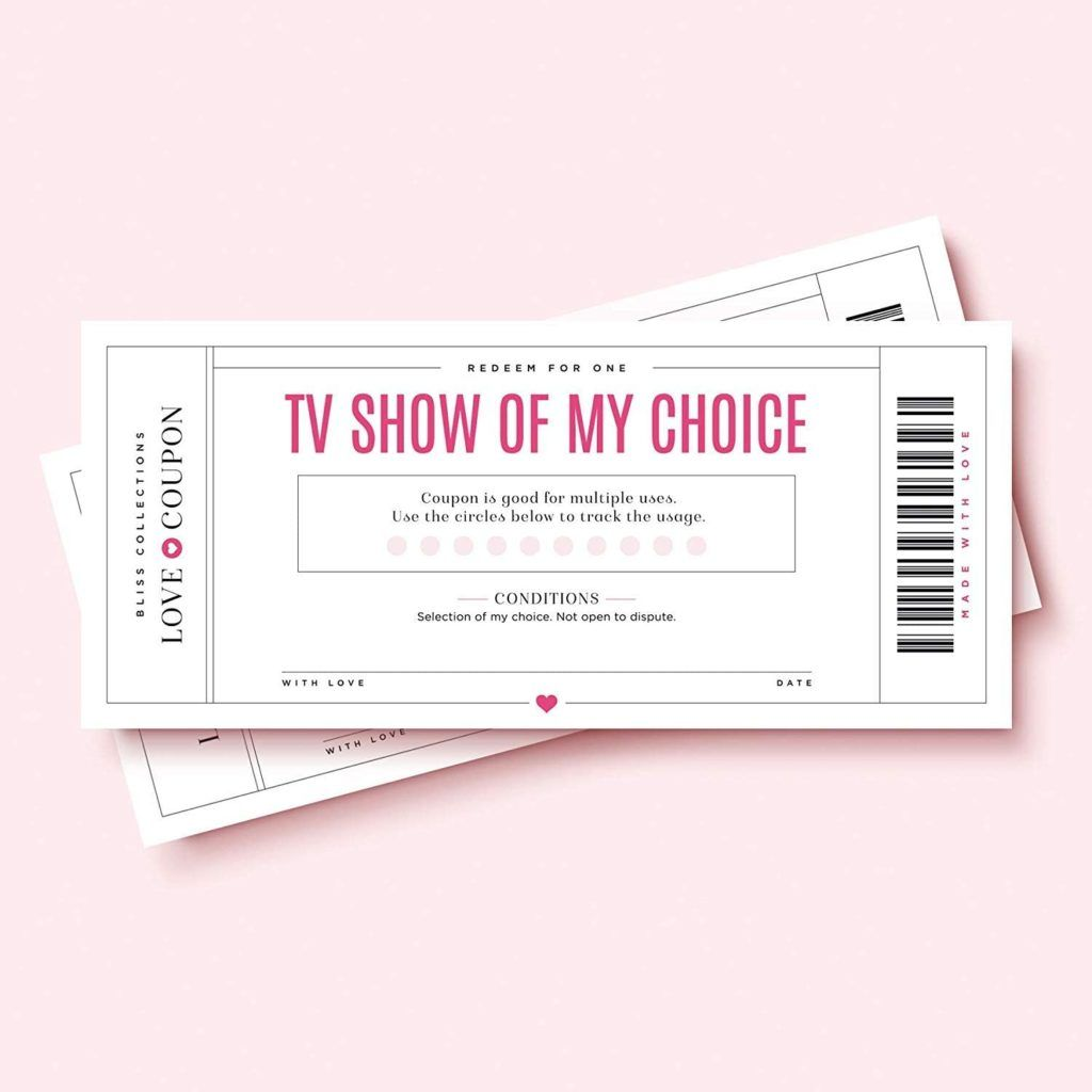 Romantic Valentine's Day Coupons. - example says TV show of my choice