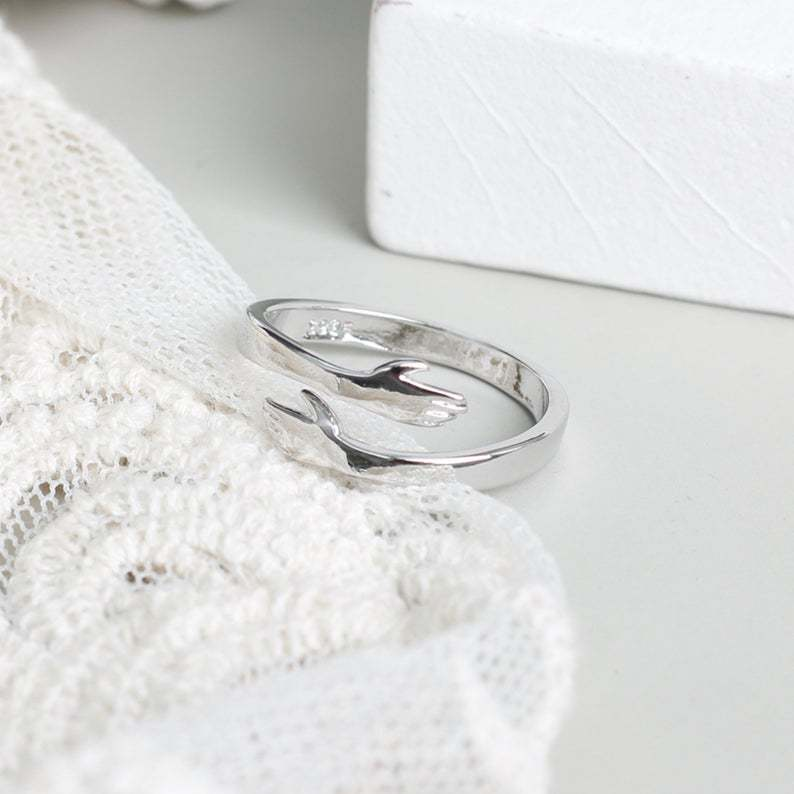 Sterling Silver Customizable Love Hug Ring