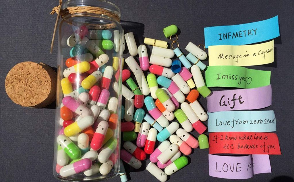 capsule message in bottles - write cute love notes and put into pill then into bottle