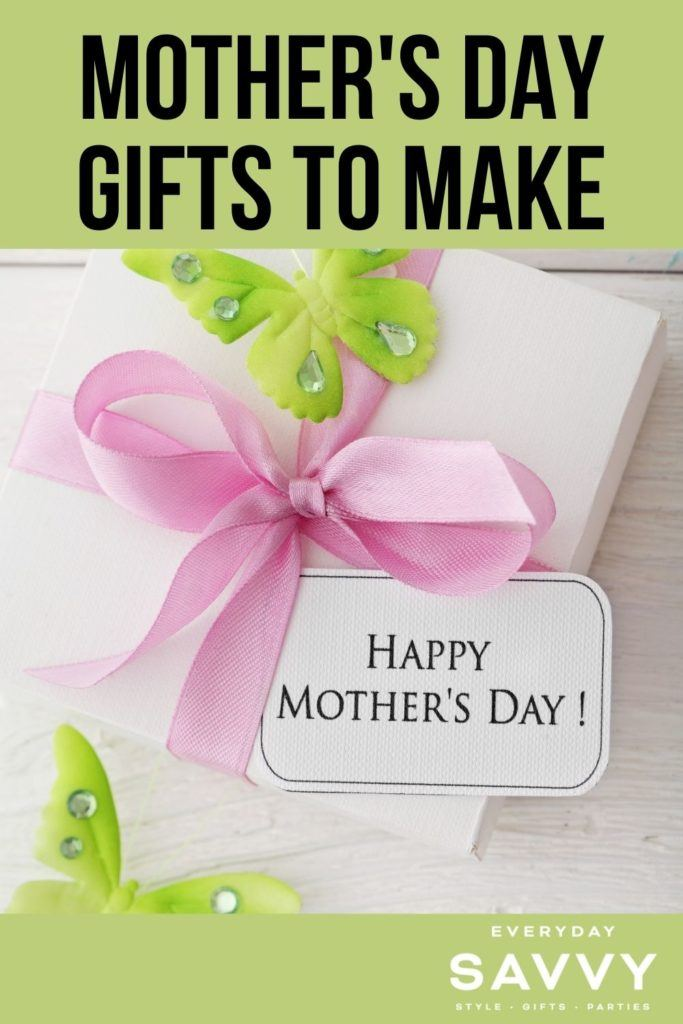 Mothers Day Gifts to Make - gift with Happy Mother's Day tag pink ribbon and green butterflies