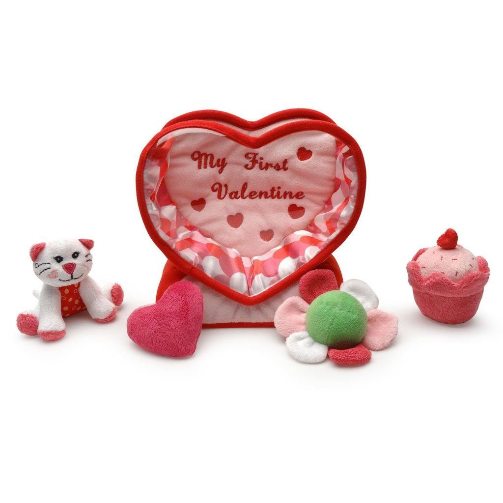 Baby, Be My First Valentine 5 piece soft toy playset. Fill & Spill soft heart includes: developmental toys that squeak, crinkle, rattle and jingle.