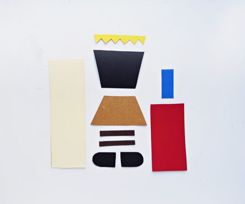 nutcracker craft - pieces of cardstock cut out