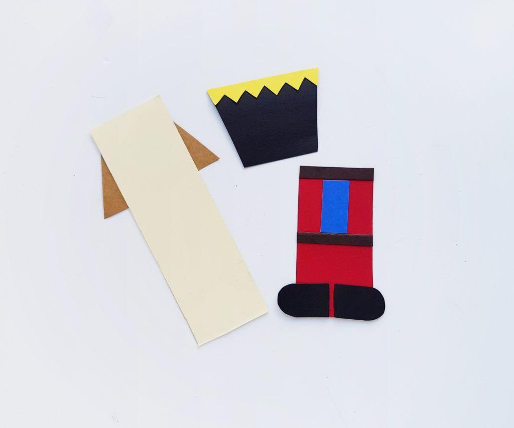 nutcracker craft - start gluing pieces together