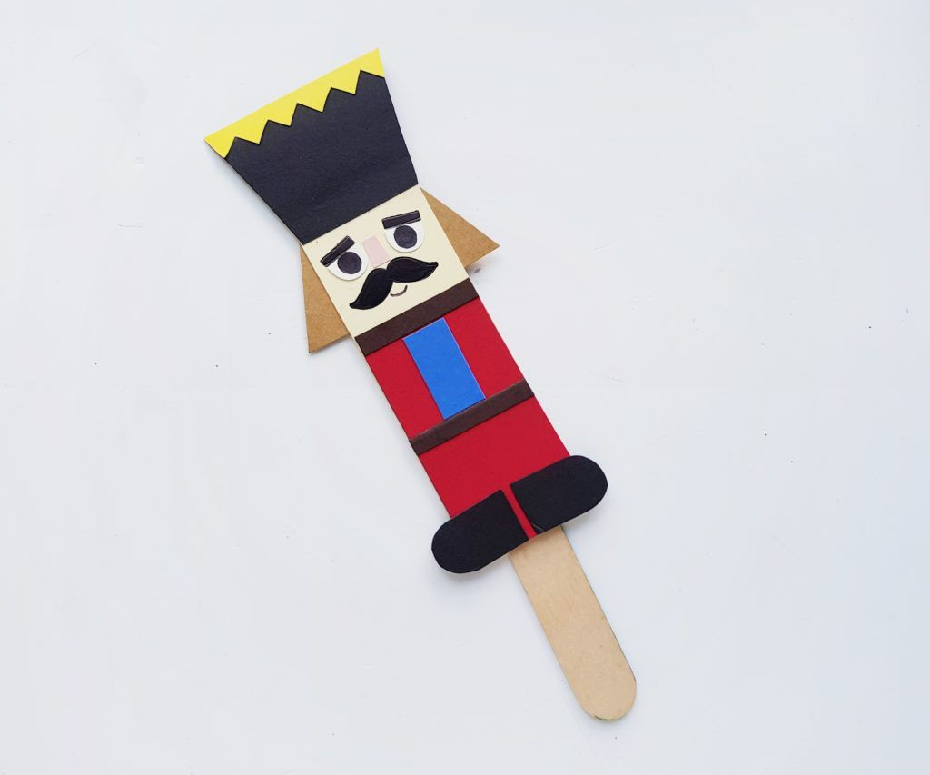 nutcracker craft added to stick to make stick puppet