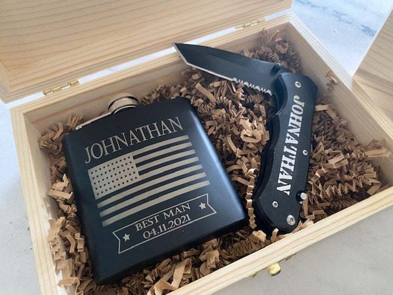 personalized wooden gift box with personalized flask and knife