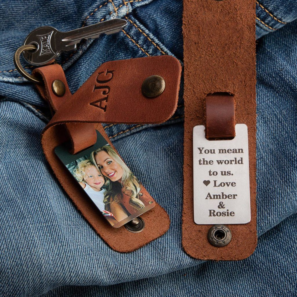 personalized leather keychain with picture and engraving