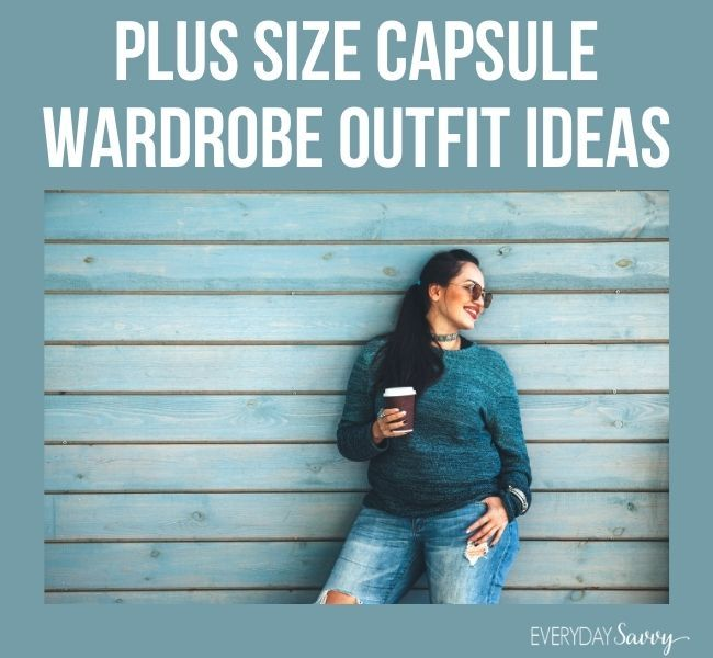 plus size capsule wardrobe outfit ideas - plus size woman with coffee in hand