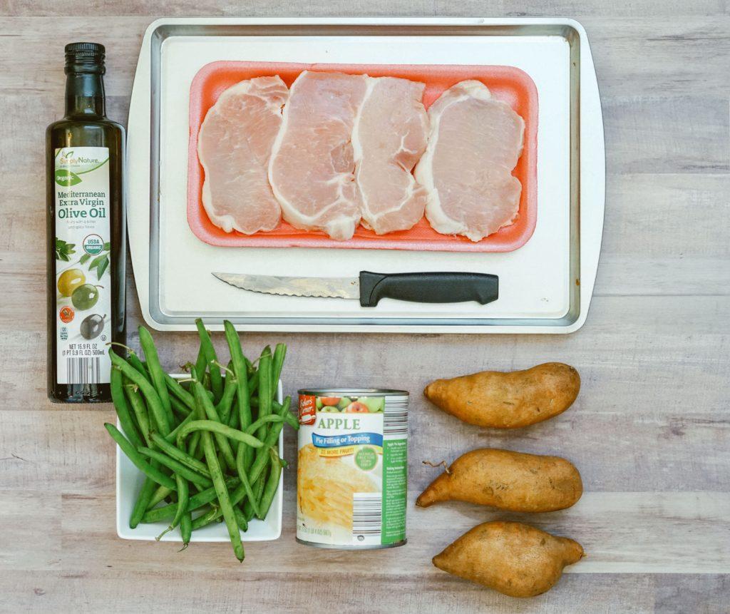 boneless pork chops sheet pan green beans sweet potato